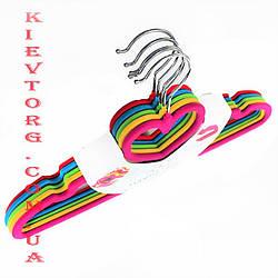 Плечики вешалки флокированные (бархатные, велюровые) все цвета сердце, длина 400 мм