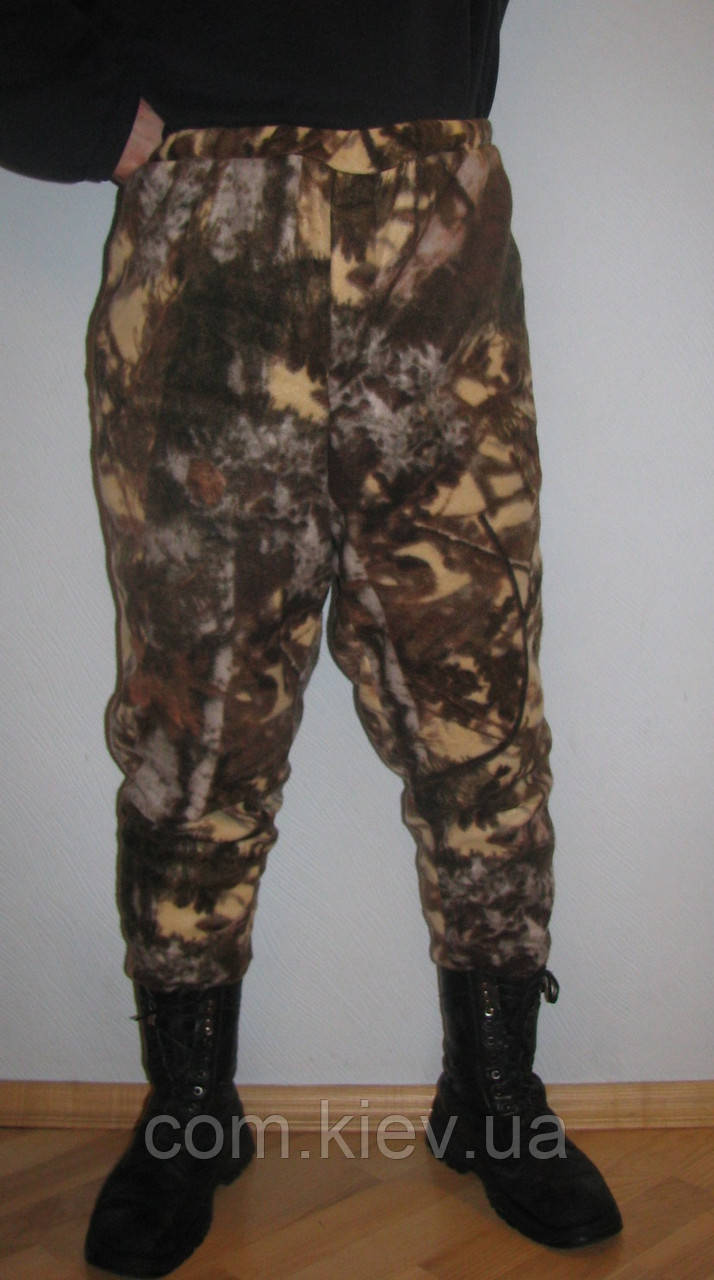"""Мужские камуфлированные штаны из флиса""""осенний лес"""""""