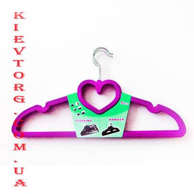 Плечики вешалки флокированные (бархатные, велюровые) розового цвета сердце, длина 420 мм