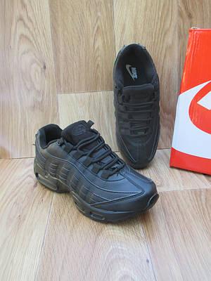 Женские Кроссовки в стиле  Nike Air Max 95 черные кожа