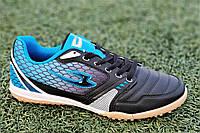 Сороконожки, бампы, кроссовки для футбола черные с синим износостойкая синтетическая кожа удобные (Код: М1211), фото 1
