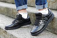 Кроссовки мужские реплика New Balance черные кожаные прошиты модные, популярные (Код: М1208а)