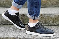 Кроссовки мужские реплика Reebok черные натуральная кожа прошиты модные, популярные (Код: Т1209а)