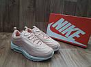Женские Кроссовки в стиле  Nike Air Max 97 (Топ Качество) розовые кожа+сетка