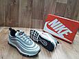 Женские Кроссовкив стиле  Nike Air Max 97 (Топ Качество) серые кожа+сетка, фото 2