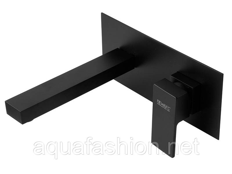 Встраиваемый в стену черный смеситель для умывальника Newarc Silver 851571B