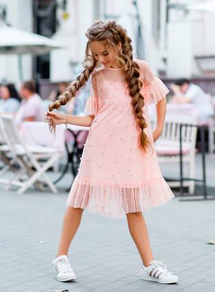 """Детское нарядное платье-двойка 383 """"Кристалл Сетка Жемчуг"""" в расцветках"""
