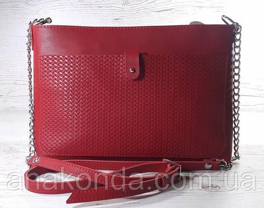 25 Натуральная кожа, Сумка-клатч красный с тиснением рогожка, фото 2