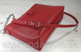 25 Натуральная кожа, Сумка-клатч красный с тиснением рогожка, фото 3
