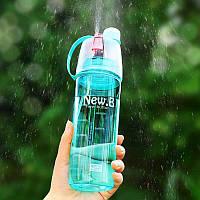Спортивная бутылка-фляга для воды с распылителем New.B, 600 мл. - желто-салатовая