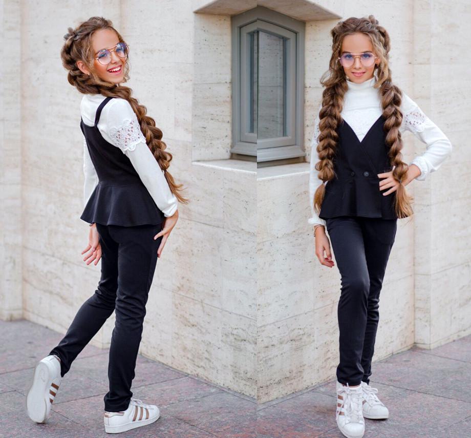 """Детский стильный костюм-двойка с брюками """"Трикотаж Жилет Баска"""" в школьных расцветках"""