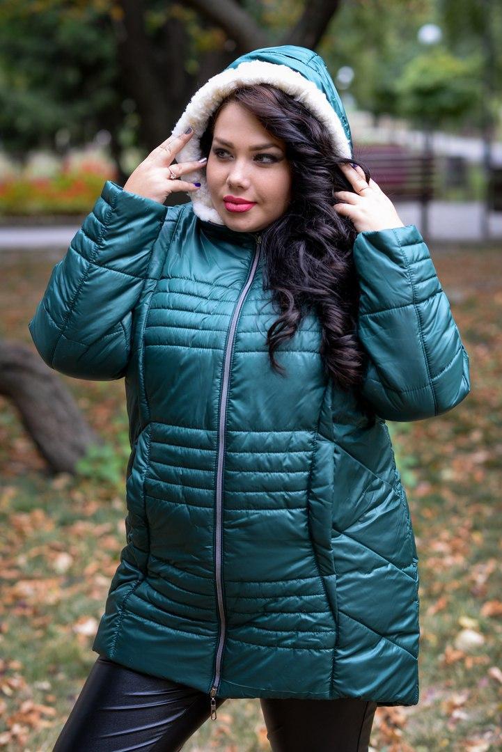Женская зимняя куртка с мехом под овчину в больших размерах 10ba186
