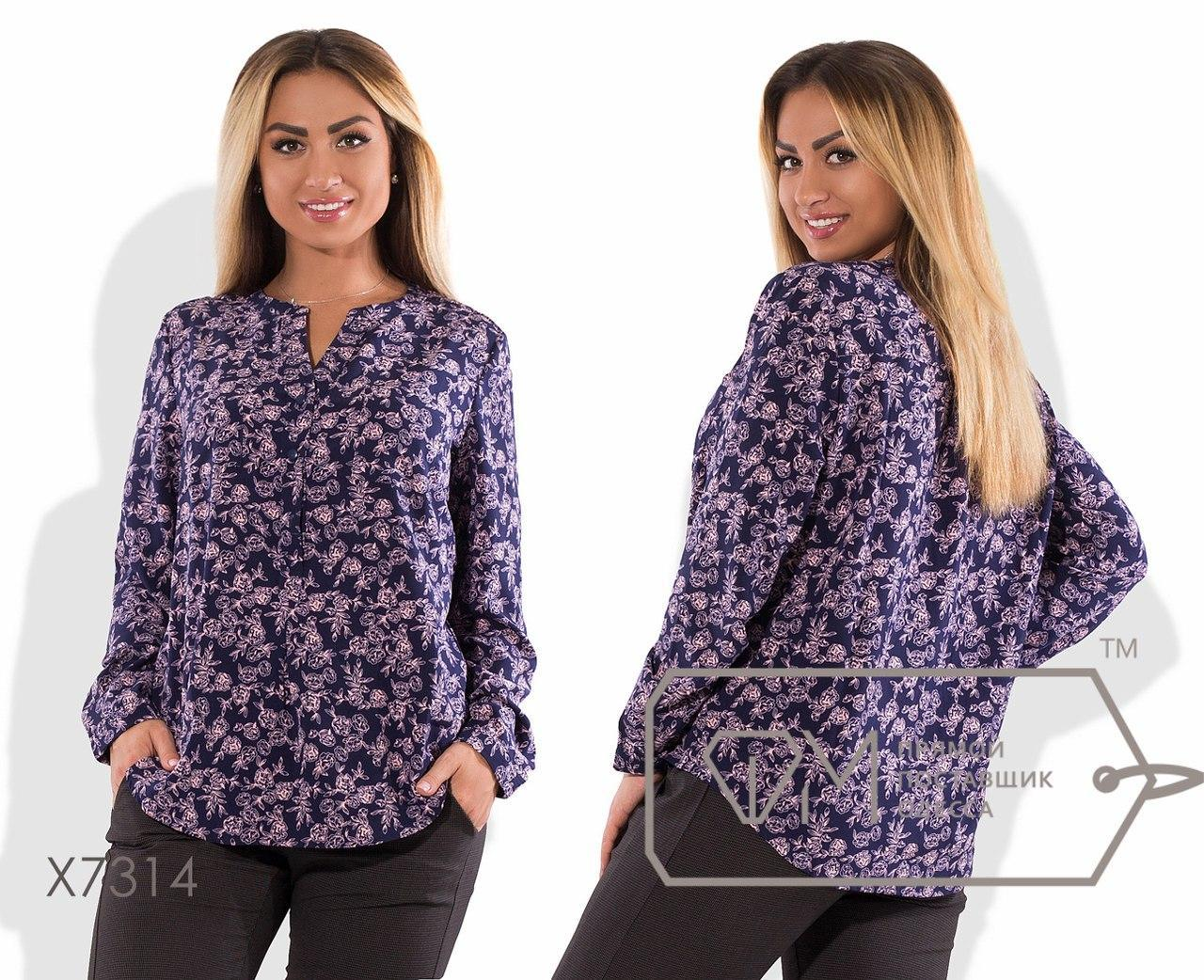 Женская прямая принтованная блуза большого размера fmx7314