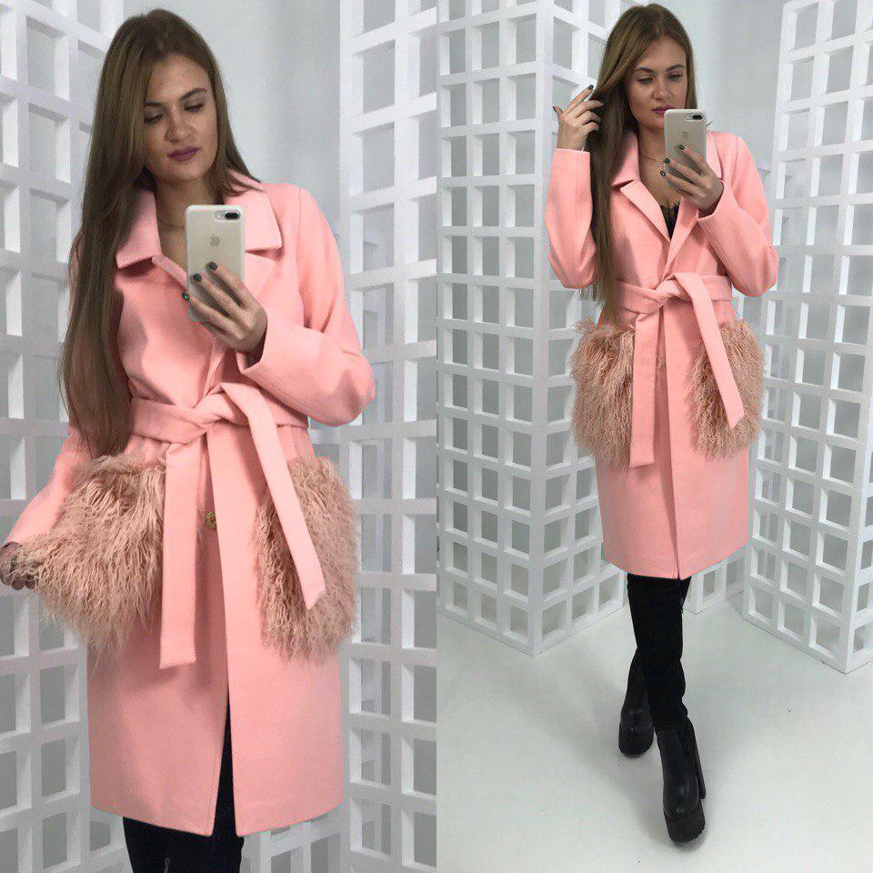 Кашемировое женское пальто с мехом на карманах 58pt20