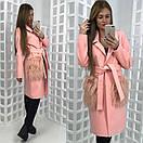 Кашемировое женское пальто с мехом на карманах 58pt20, фото 2