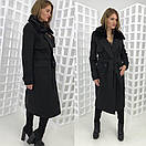 Зимнее удлиненное пальто классического стиля с мехом на воротнике 58pt28, фото 3