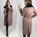 Зимнее удлиненное пальто классического стиля с мехом на воротнике 58pt28, фото 4
