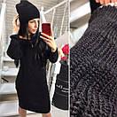 Вязаное прямое платье в комплекте с шапкой в расцветках 40py263, фото 3