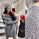 Вязаное прямое платье в комплекте с шапкой в расцветках 40py263, фото 4