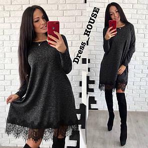 Свободное платье трапеция с кружевом снизу в расцветках 5py271