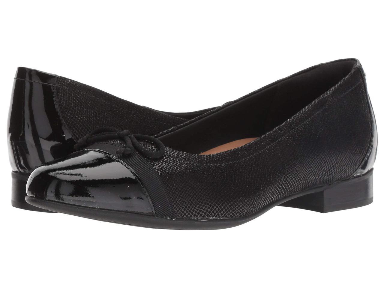 Туфли без каблука (Оригинал) Clarks Un Blush Cap Black Nubuck/Patent Leather Combination
