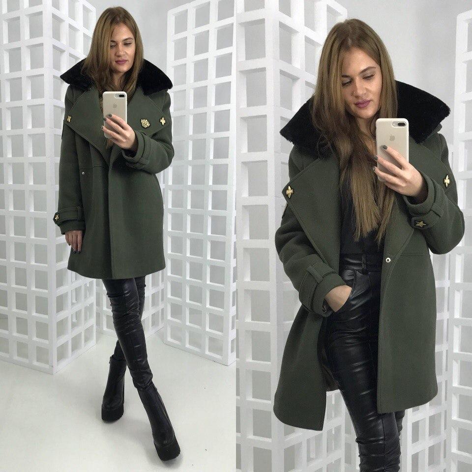 Женское зимнее пальто в военном стиле 58pt36