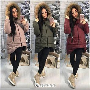 Женская зимняя куртка с капюшоном и меховой опушкой 37kr46