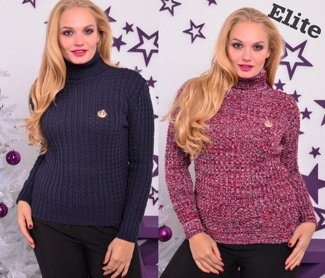 Женский вязаный свитер в больших размерах с высоким горлом 6ba280