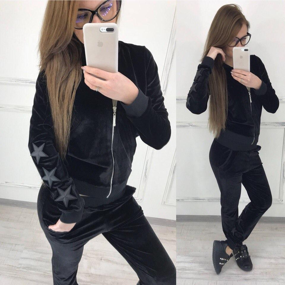 Женский спортивный костюм из бархата на молнии 58so157