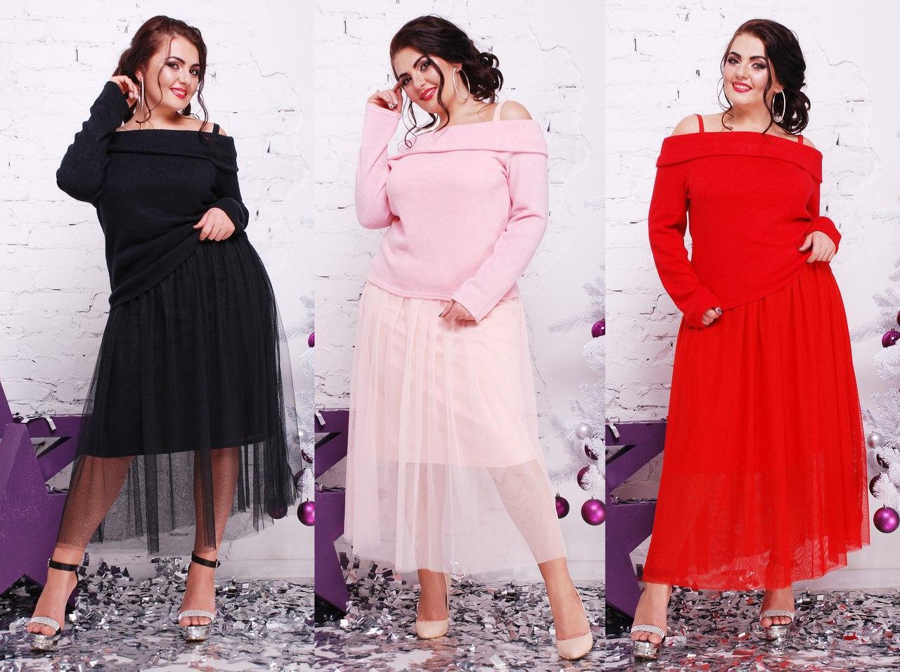 Платье большого размера из ангоры и сетки с открытыми плечами 16ba335