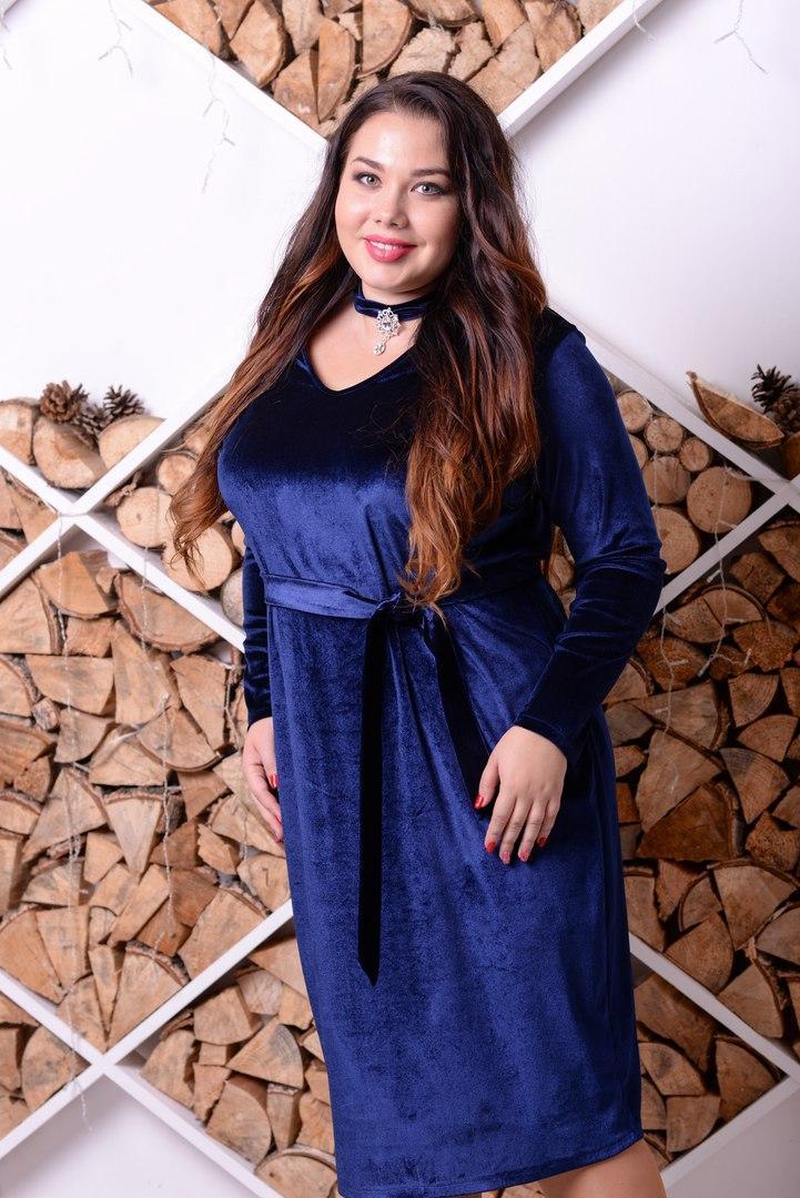 Бархатное платье большого размера с вырезом (чокер) 10ba331
