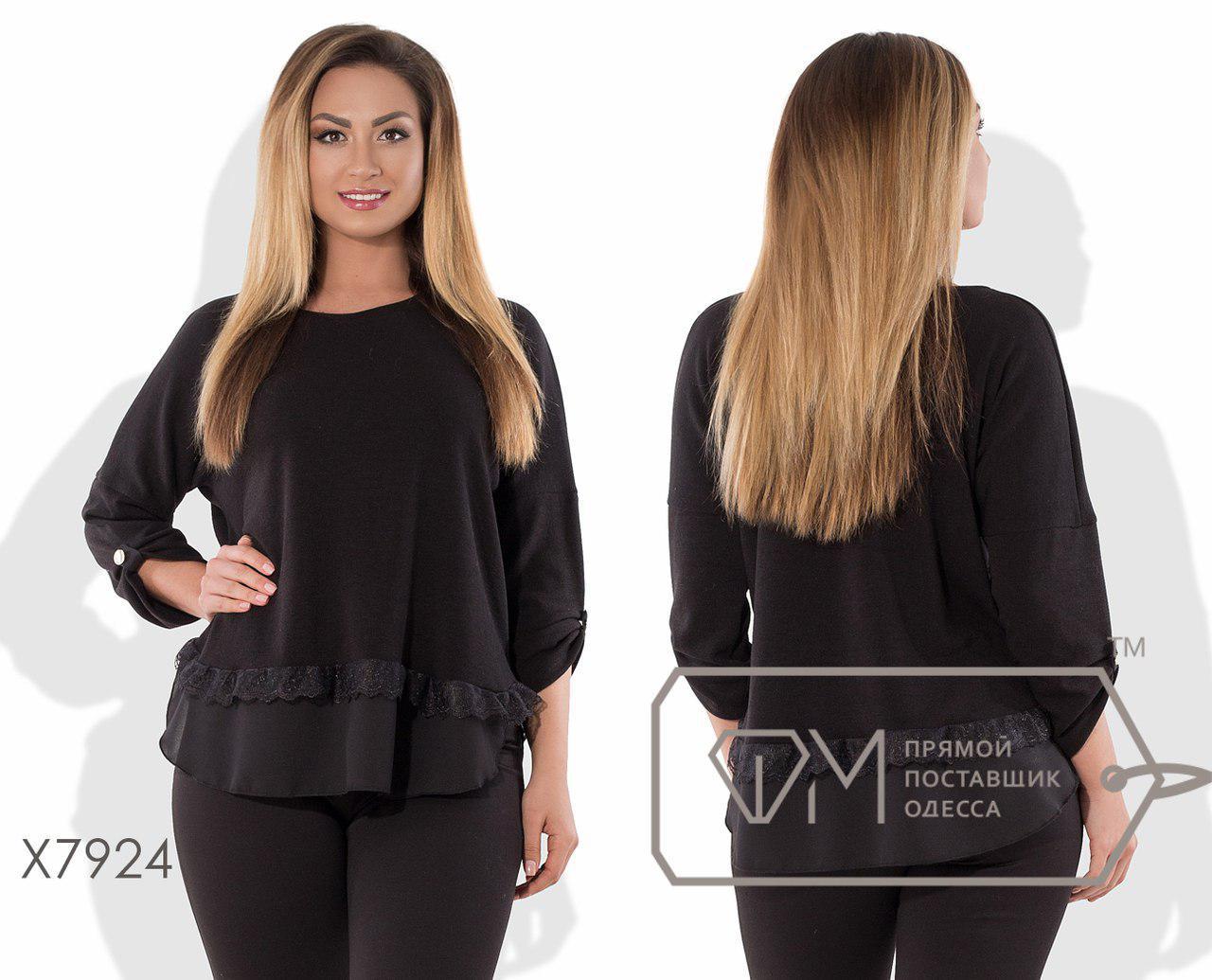 Женская блуза из ангоры с шифоном в больших размерах fmx7924