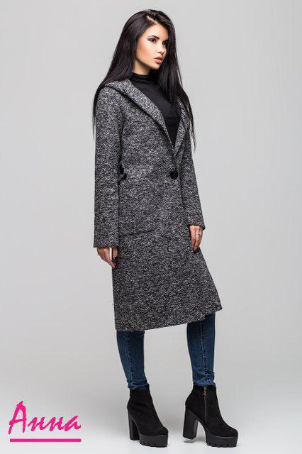 Женское пальто миди на весну-осень с лацканами 64pt56