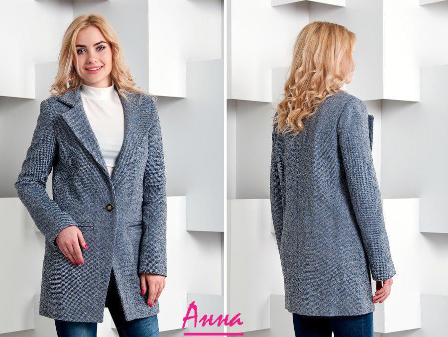 Короткое демисезонное женское пальто на одну пуговицу 64pt54