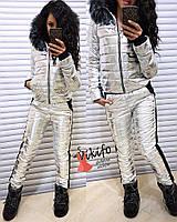 Женский зимний горнолыжный костюм серебро с капюшоном и мехом 20gk21