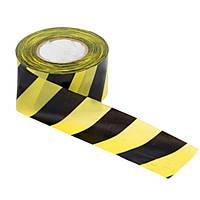 Сигнальная лента желто черная 7см 100мм 35мкм