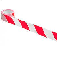 Сигнальная лента красно белая 7см 100мм 35мкм