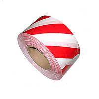 Сигнальная лента красно белая 7см 200мм 35мкм