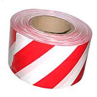 Сигнальная лента красно белая 7см 500мм 35мкм