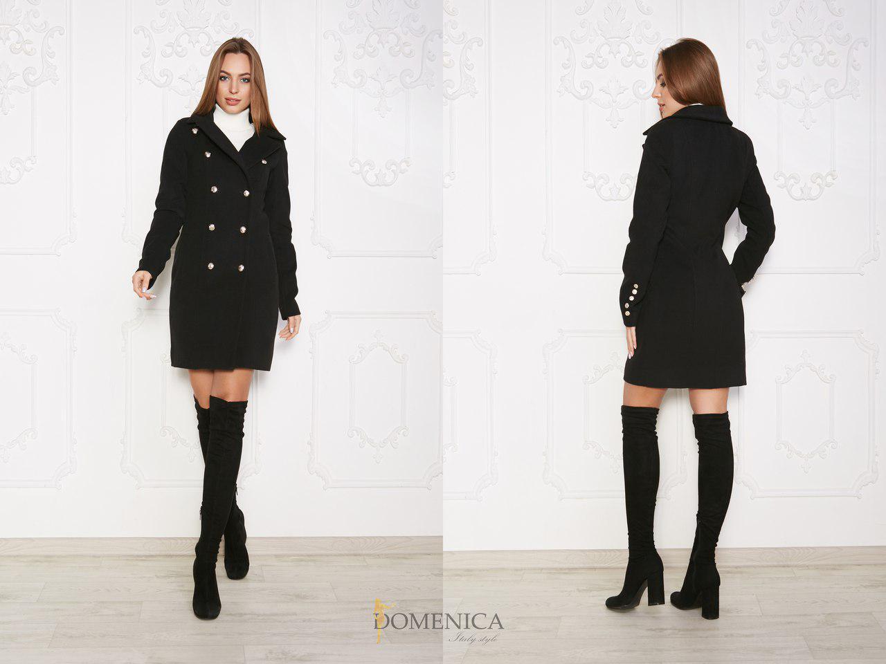Женское кашемировое двубортное пальто в расцветках 31pt62