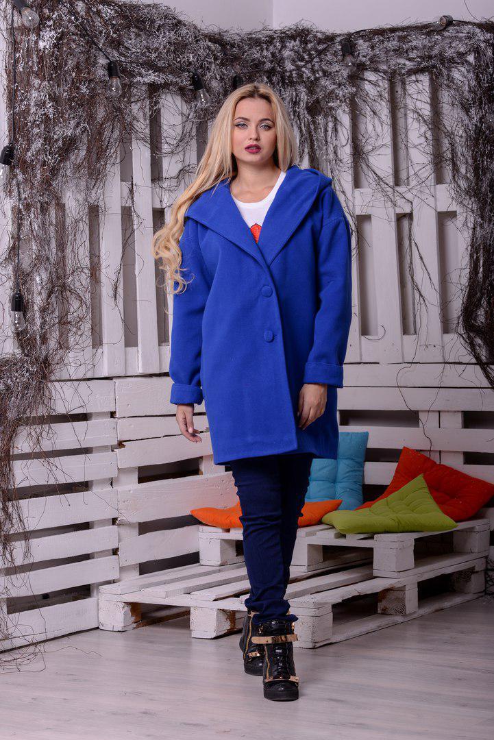 Женское прямое пальто оверсайз с большим капюшоном 10pt67