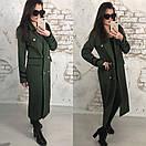 Удлиненное женское пальто двубортное с поясом 58pt70, фото 2