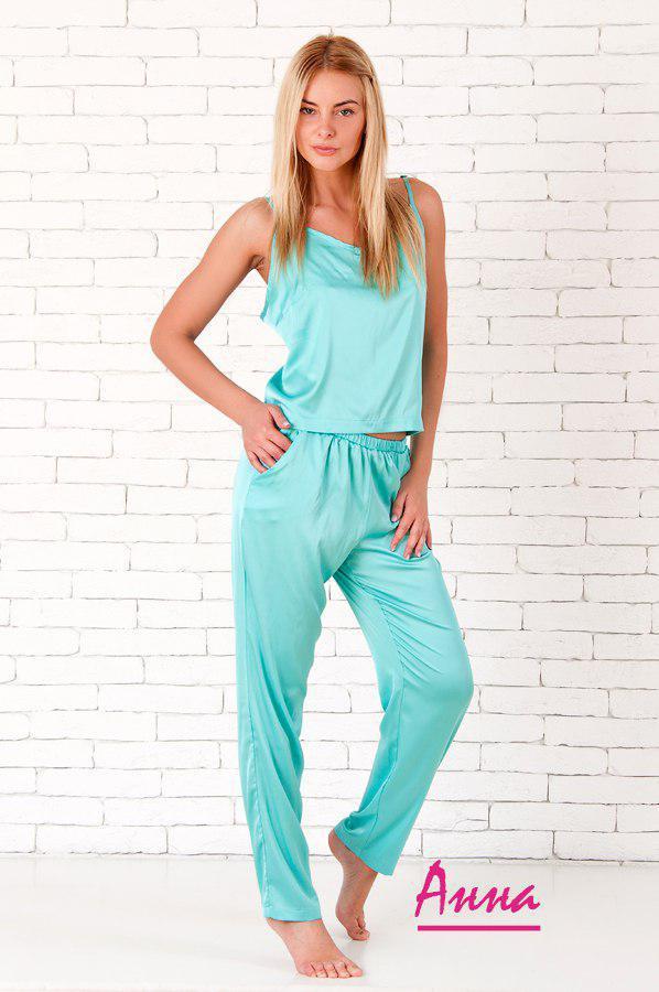 Женская шелковая пижама с брюками и майкой 64dd40
