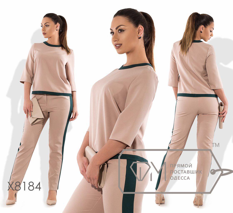 Брючный женский костюм в больших размерах с ломпасами fmx8184