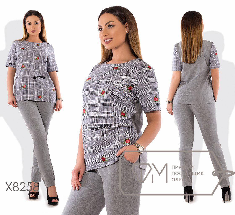 Женский брючный костюм в больших размерах с прямой футболкой fmx8258