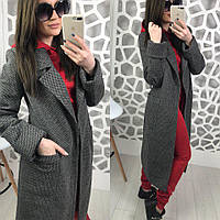 cc9cf1bef1d Женское двухфактурное пальто на весну-осень ниже колена длиной 58pt74