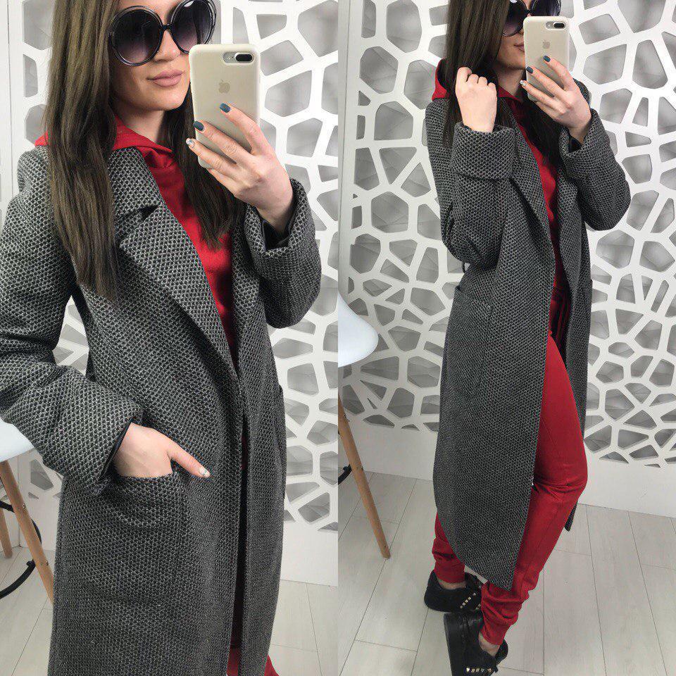 Женское двухфактурное пальто на весну-осень ниже колена длиной 58pt74