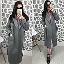 Женское двухфактурное пальто на весну-осень ниже колена длиной 58pt74, фото 3