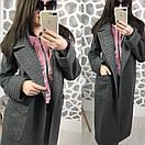 Женское двухфактурное пальто на весну-осень ниже колена длиной 58pt74, фото 4