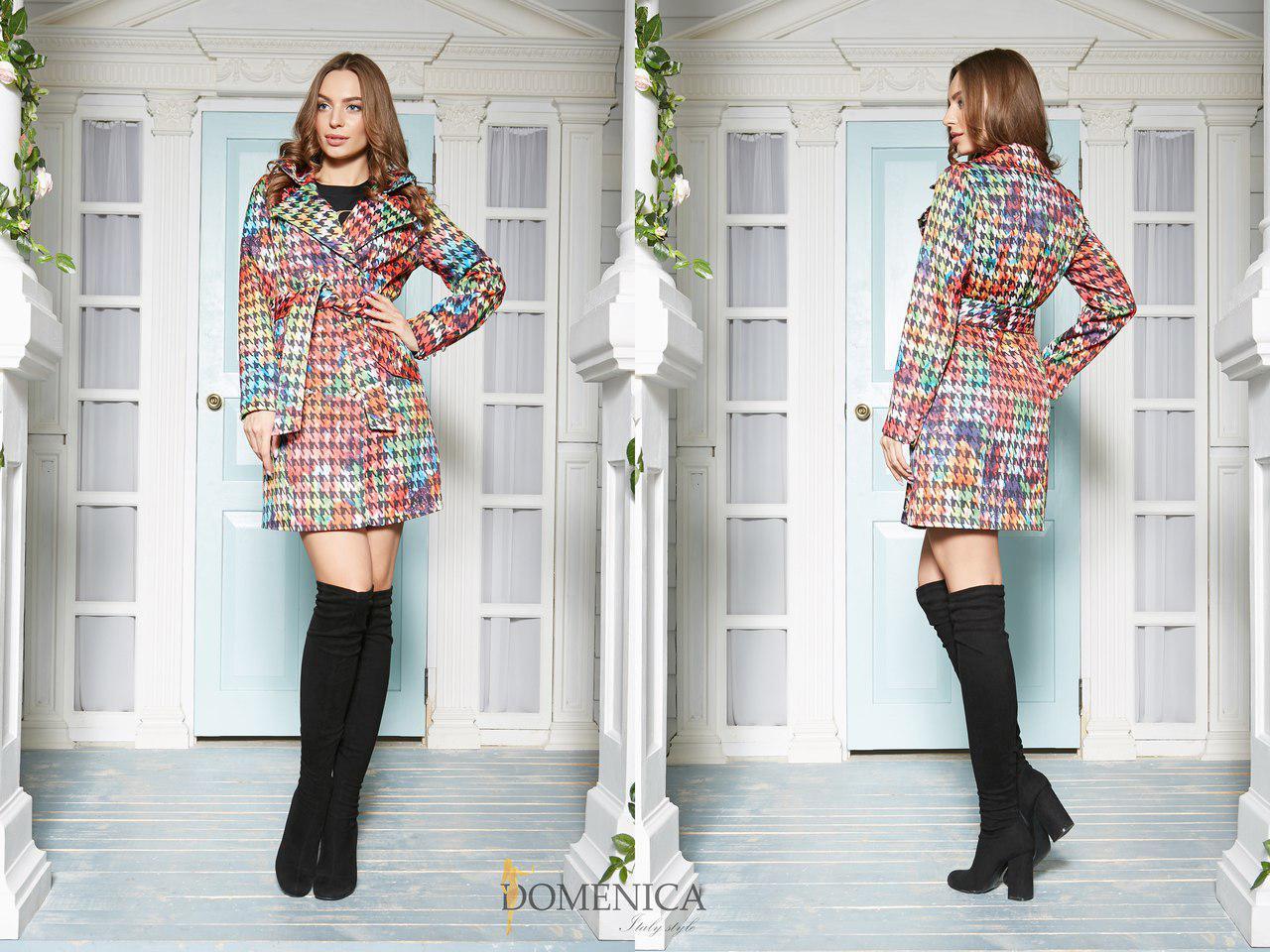 Легкое жаккардовое женское пальто принтованное 31pt75